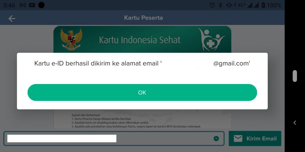 Kartu elektronik BPJS Kesehatan telah dikirim ke email